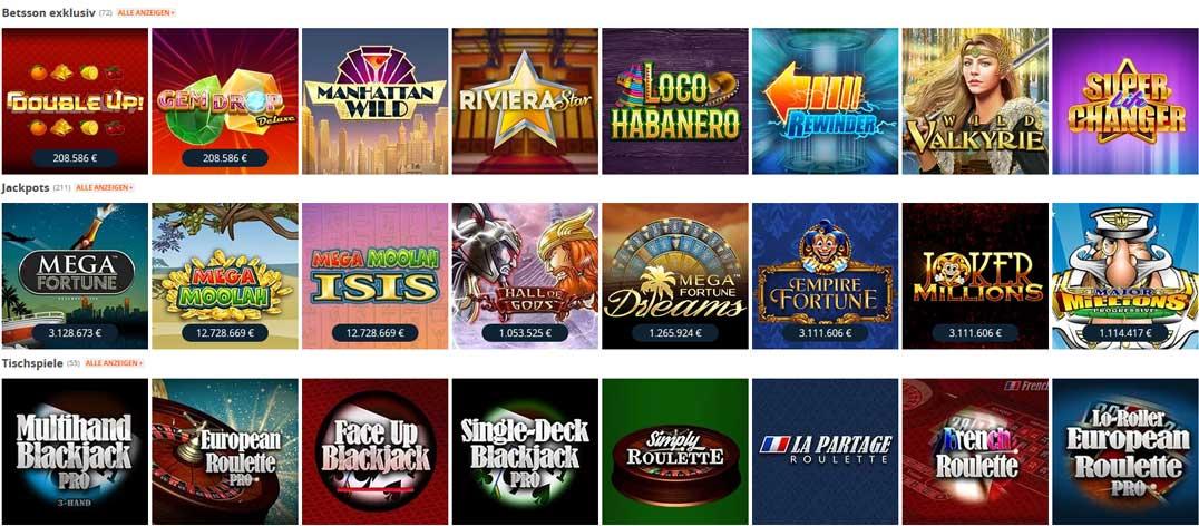 Betsson Casino Spiele