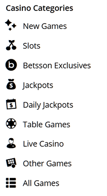 Betsson Game Categories