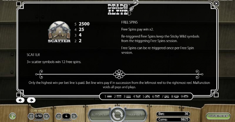 Dead or Alive preview freespins