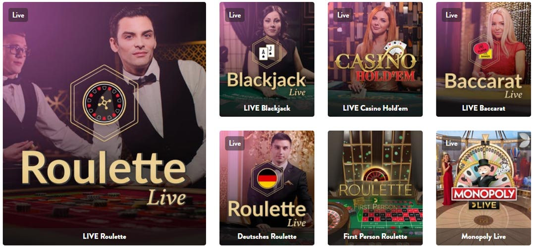 dunder live casino games