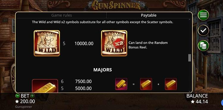 Gun Spinner Paytable
