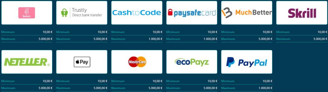 Platin Casino deposit methods