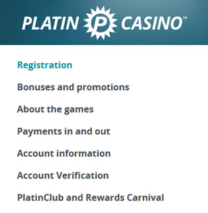 Platin Casino FAQ