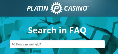 Platincasino FAQ support