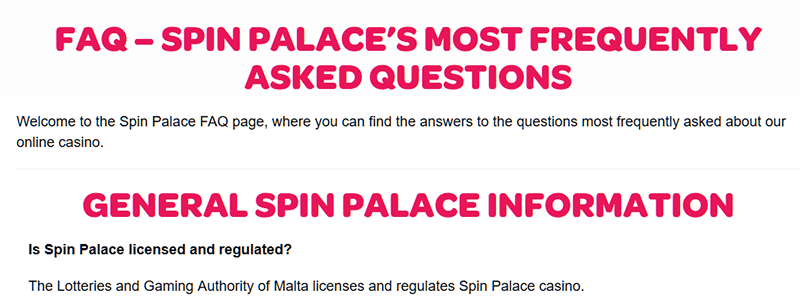 Spinpalace FAQs
