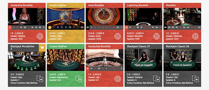 Wunderino Live Casino Banner